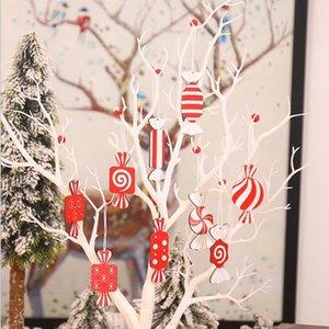 Weihnachten Elk Schnitzkunst Süßigkeiten Form Weihnachtsbaum Ornament Weihnachtsschmuck Naturholz- Hanging Anhänger Weihnachten Anhänger Geschenk YYA499