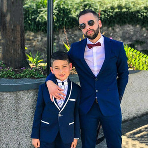 Custom Made Blue Mens Suits Slim Fit Two PCs Groomsmen Wedding Tuxedos For Men Shawl Lapel Formal Prom Suit (Jacket+Pant)