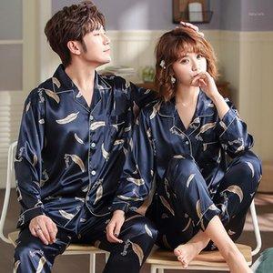 Hombres Mujeres Pijamas Set Soft Imitate Seda Imprimir Camisa Pantalones Pareja Sleepwear Pijama Sets Unisex Pijamas Sleepwear1