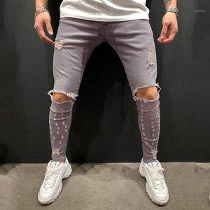 Casual Ropa Masculino Agujero Mens Designer Jeans Color Sólido Pantalones Pantalones Lápiz Estirado Gris Distresado Moda