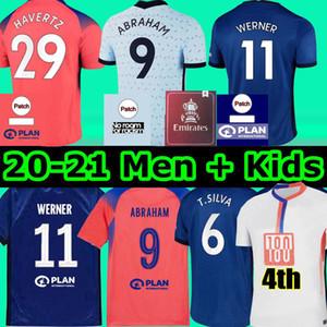 4-й футбол Джерси Пулисий Ziyech Havertz Kante Werner Abraham Chilwell Mount Jorginho 2020 2021 Giroud Футбольная футболка 20 21 Мужчин + Детский комплект