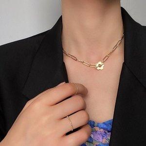 CHOKERS Französisch Stil Ziemlich vergoldet Hohl Blume Charme Papier Clip Kette Choker Halsketten Für Frauen Mädchen Schmuck Zubehör