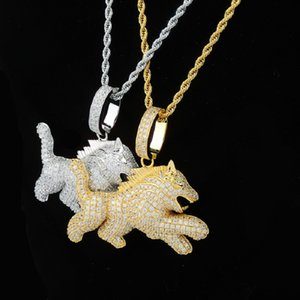 Mens Gold Silve Necklace Designer Jewelry Dog Pendant Necklaces Zircon Iced Out Fashion Hip Hop Punk 18k Gold Plated Chain Mens Gifts New