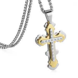 Stainless Steel Link Chains Crystals Cross Multilayers Pendant Necklace Fashion Hip Hop Jewelry for Men MN1971