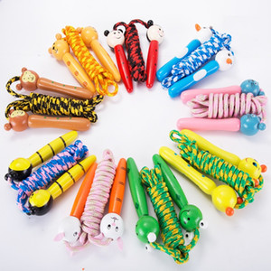 Free Shipping Kids Wood Skipping Jump Rope Wooden Green Bee Cartoon Animals Toy Party Favor Supply Fitness