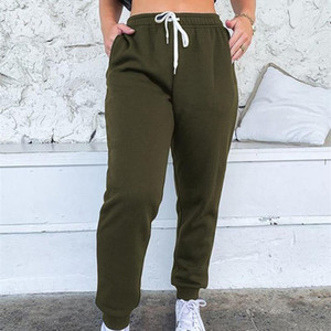 Women Casual Loose Elastic Waist Fitness Pants Solid Color Sweatpants Baggy Ankle-length Loose Winter Full Length Trousers