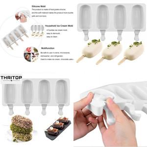 Alimento seguro silicone sorvete moldes 4 células congeladas cubo gelo moldes popsicle maker diy caseiro caseiro freezer molde de lolly com varas grátis 101 J2