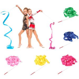 4M colorido Ballet Ginásio Fitas dança da fita Rítmica Art Gymnastic Streamer Twirling Rod vara Para Gym Formação Profissional