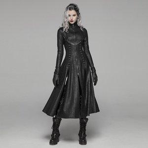 PUNK RAVE Женщины Dark Punk Длинных пальто ретро передней молния Стенд Воротник Шинель Punk Rock Stage Выполнить Женщина Длинного тренчкот 1028