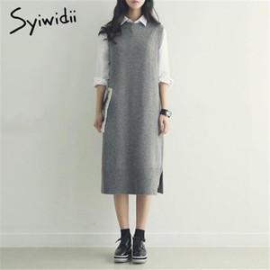 SyiWidii sin mangas largos suéter mujeres ropa de invierno 2020 vestido o-cuello caída gris casual casual japonés japonés jerseys tejido chaleco