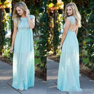 Mint Green Bridesmaid Dresses Floor Length Lace Cap Sleeves Sexy Backless Chiffon Beach Wedding Maid of Honor Gown Empire Waist Party Wear