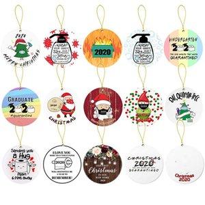 Ornement de Noël 2020 Quarantine famille bois Décorations en bois Masque Visage Arbre de Noël Cartes Pendents Party Favor BWC2566