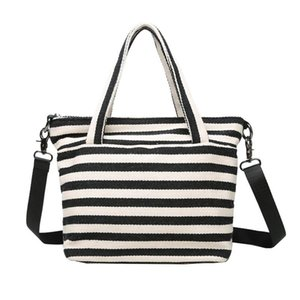 Stripe canvas Women bag High quality and large capacity Women handbags casual Multifunction shoulder bag crossbody
