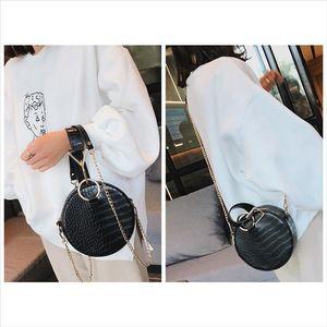 Crocodile Leather Round Bag Women Shoulder Bags Crossbody Bags for Women 2020 Evening Wrist Bag Circle Ladies Hand W293