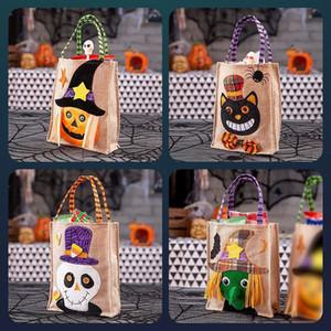Caramelo de Halloween del bolso de gran capacidad truco Saco Decoración lienzo hecha a mano de mano o de la invitación bolsas para los niños
