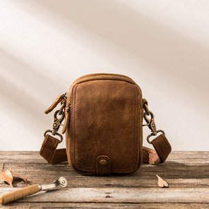 2020 Retro phone pockets male handmade Leather Messenger packet mini casual matte leather shoulder bag man small min handbags