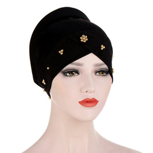 Muslim Women Stretchy Bead Cross Silky Sponge Turban Hat Cap Headwear Wrap Plated Hair Cover Accessories