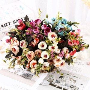 8 Heads Bouquet Silk Artificial Flowers Peony Flores Rose Buds For Home Wedding Christmas Decoration Fake Flower Bride Bouquet