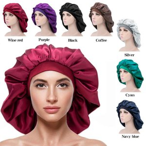 New Extra Large Women Pure Color Satin Night Sleep Cap Bonnet Hat Head Cover Elastic Wide Band Hair Care