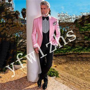 Custom-made One Button Groomsmen Peak Lapel Groom Tuxedos Men Suits Wedding Prom Dinner Best Man Blazer(Jacket+Pants+Tie+Vest) W628