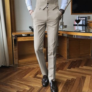 Quality Men Cotton Suit Solid Color Business Casual Mens Dress Trousers Khaki Black Classic Slim Men's Groom Wedding Pants