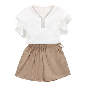 Free Shipping lovely 2Pcs Toddler Kids baby girls Outfits Clothes Ruffles Sleeve T-shirt+Shorts Pants Set Z0211