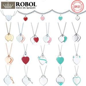 colar tiff 925 colar pingente feminino jóias requintado artesanato com logotipo oficial coração azul clássico colar atacado