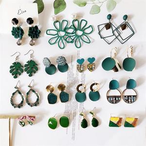 Newest Retro Green Acrylic Earrings For Women Vintage Simple Fashion Flower Geometric Hanging Drop Earring Female Trendy Jewelry