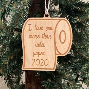Christmas Ornaments Pandemic Social Distancing Christmas Tree Hanging Xmas Pendants Santa Claus Toilet Paper Party Decoration KKB2876
