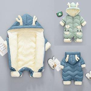 Baby Winter Snowsuit Plus Velvet Thick Baby Boy Boys Jumpsuit 0-2 años Recién Nacido Romper Baby Girls Overlismo Abrigo para niños pequeños 201028