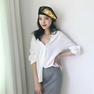 Sequins Beret Fashion Angland Женская ретро крышка регулируемый двухцветный Flip-разбрасыватель художник шляпа партия подарок 3 цвета регулируемый размер 2xejg