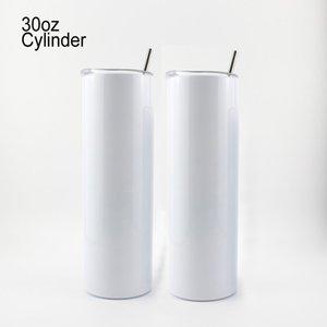 Cynlder de sublimación 30 oz agua vaso de doble pared de acero inoxidable Cerveza clásica Taza de café con tapa de la paja