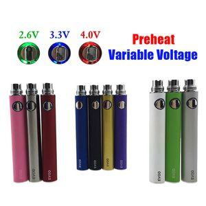 510 Konu Pil EvoD Ön ısıtma VV Buharlaştırıcı 1100 900 650 mAh Değişken Gerilim E Sigara 510 Konu Ego Vape Pen E-Çiğ USB Şarj