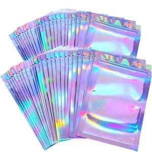 Wholesale 100pcs Lashes Packaging Boxes Idea Holographic Laser Zip Lock Party Favor Bag Eyelashes Lash Package Box Custom Logo Sticker