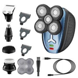 رجال قابل للغسل ماكينة حلاقة كهربائية 5IN1 آلة الحلاقة للرجال الاستمالة اللحية الانتهازي الوجه الدوارة الحلاقة الكهربائية USB قابلة للشحن