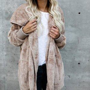 Женщины куртки Мода Solid Color Open Стич Зимнее пальто куртка Женщина с длинным рукавом вскользь сгущают двойные борта пальто