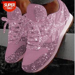 Frauen Bling Turnschuhe 2020 Herbst Neue Beiläufige flache Damen Vulkanisierte Schuhe Biathabelle Lace Up Sneakers Outdoor Sport Schuhe 896 # A72D