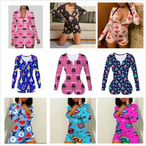 Frauen Jumpsuits Designer Pyjama Onesies Nachtwäsche Body Workout-Knopf-dünner heißen Printed V-Ausschnitt Damen neue Art und Weise Kurz-Spielanzug