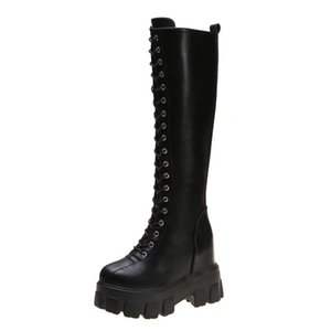 Pelle LYXLYH modo delle donne Croce PU Strap Boots autunno inverno stivali alti al ginocchio signore spessi plateau Botas Mujer