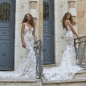 Berta 2021 Mermaid Wedding Dresses Plus Size Lace Appliqued Deep V Neck Bridal Gowns Backless Sexy Wedding Dress robes de mariée