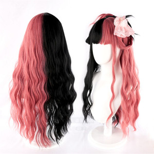 Mix Colour Red Black Lolita Wig Harajuku Long Curly Synthetic Hair Fringe Bangs Daily Adult Girls