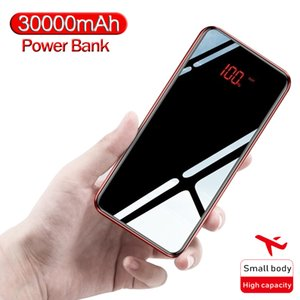 30000 MAh Power Bank Portable Mobile Phone Charger LCD Full Mirror Screen Powerbank for Smartphones External Battery Free