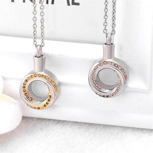 Crystal Infinity Circle Cremation Urn Necklace Memorial Joyería de acero inoxidable Azas Keesake Forever Love Annulus1