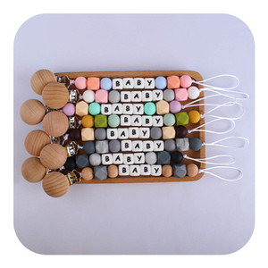 INS Silicone Wood baby pacifier clips Baby Dummy Pacifier Clip letter Beads Nipple Holder Nursing Teething Gifts Baby Toys B2951