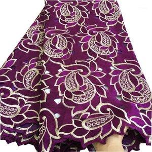 Лента нигерийские швейцарские военные кружева в Швейцарии 2021 Высококачественная вышивка африканская сухая хлопчатобумажная ткань для женщин платье SW-4231