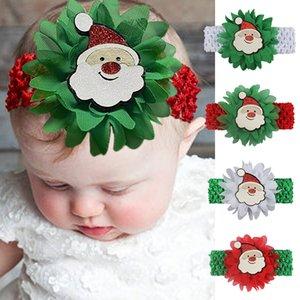 Weihnachten Kid Haarband Weihnachtsgeschenke Baby-Karikatur Chiffon Blumen-Kinder Hairband Sankt-Haar-Band 0-5 Jahre alt Baby-XD24083