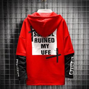 Красный Мужчины Толстовки Крупногабаритные Мужчины 2020 Лоскутная Толстовка Хип-хоп Японская Streetwear Мода Толстовка Мужчины Толстовка пальто