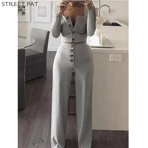 Cardigan Slim Two Piece Set Women Knitted Tracksuit Sexy Crop Top Pants Solid Color Sweatpants Fitness Sweatsuit Fall 201012