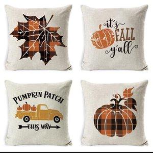 New Halloween Pumpkin Sofa Throw Pillowcase Printed Plaid Pillow Case Cover Pillowslip For Car Office Home DHD2108