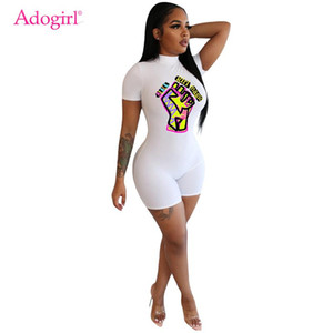 Adogirl Harf Jumpsuit Günlük Moda Mock Yaka Kısa Kollu sıkı Fermuar tulum 2020 Yaz Kadın Giyim Onesies yazdır
